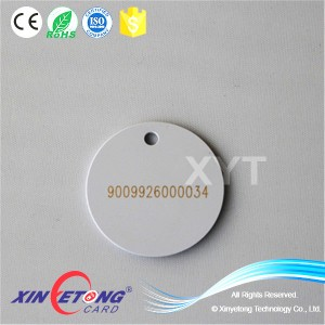 13.56mhz RFID Tag NFC Tag Laser Printing with Hole Hang