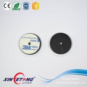 13.56mhz waterproof ABS 30mm Black Round RFID Patrol NFC Tag NTAG213 /NTAG215 / NTAG216