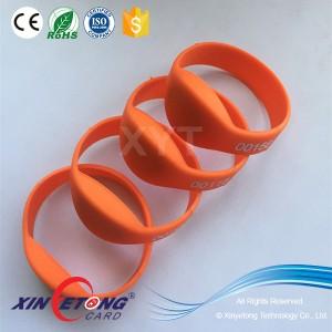 RFID силиконовые браслеты MF1k серия номер печати