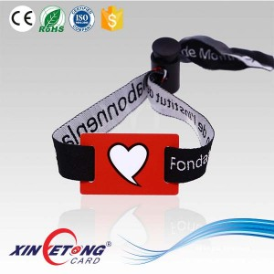 13.56MHZ Type 2 Ultralight Chip NFC Woven Wristband For Festival Events