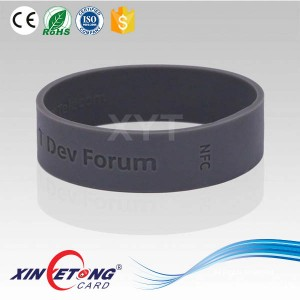 ISO 15693 Round RFID silicone wristbands Icode Sli-X Engraved Wristbands