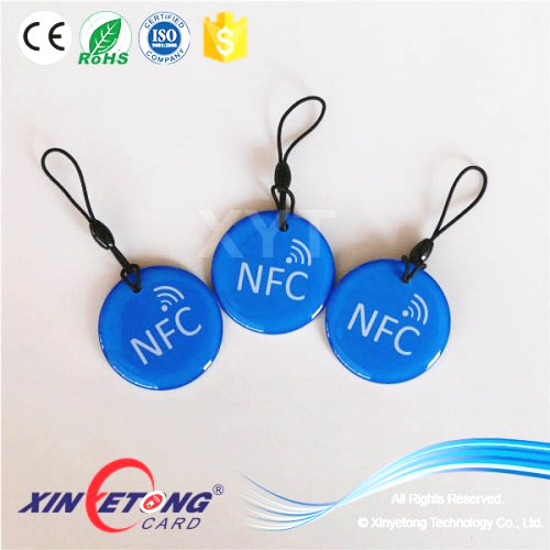 Epoxy PVC RFID KeyChain Keyring NTAG215 Tag Black Rope with NFC TAG